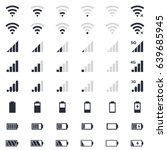 mobile interface icons  battery ... | Shutterstock .eps vector #639685945