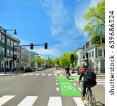 Protected Bike Lane Between...