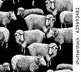 seamless pattern with sheep.... | Shutterstock .eps vector #639693481