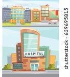 hospital building cartoon... | Shutterstock .eps vector #639695815