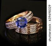 elegant jewelry two golden... | Shutterstock . vector #639698329