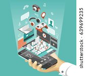 isometric smart phone interface.... | Shutterstock .eps vector #639699235