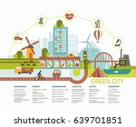 green city flat design. eco... | Shutterstock .eps vector #639701851