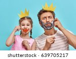 funny family on a background of ... | Shutterstock . vector #639705217