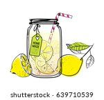 hand drawn lemon  lemon slice ... | Shutterstock .eps vector #639710539