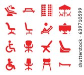 chair icons set. set of 16... | Shutterstock .eps vector #639710599