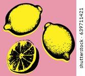 vector hand drawn lemon.... | Shutterstock .eps vector #639711421