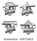 monochrome aircraft logos set... | Shutterstock .eps vector #639713815