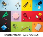 school supplies at abstract... | Shutterstock . vector #639729865