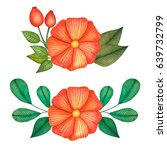 set of colorful floral... | Shutterstock . vector #639732799