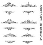 vintage vector swirl frame set | Shutterstock .eps vector #639733009
