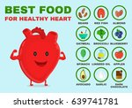 best food for healthy heart.... | Shutterstock .eps vector #639741781