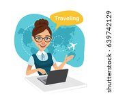 travel agency banner. woman...