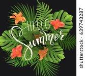 summer lettering. tropical palm ...   Shutterstock .eps vector #639743287