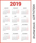 calendar for 2019 year on white ... | Shutterstock .eps vector #639747004