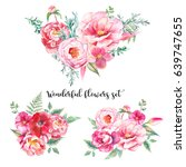 watercolor bouquets of flowers... | Shutterstock . vector #639747655