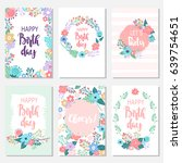 vintage birthday cards design... | Shutterstock .eps vector #639754651