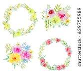watercolor flower arrangements... | Shutterstock . vector #639755989