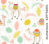 seamless background with camels ... | Shutterstock .eps vector #639756001
