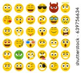 set of emoticons. set of emoji. ... | Shutterstock .eps vector #639756634