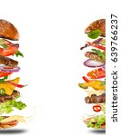 big tasty home made burger with ... | Shutterstock . vector #639766237
