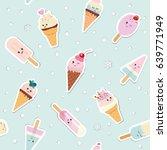 ice cream seamless pattern... | Shutterstock .eps vector #639771949