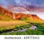 seljalandsfoss waterfall....   Shutterstock . vector #639772411