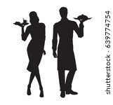 Vector Silhouettes Of Waiter...