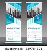 blue roll up banner stand... | Shutterstock .eps vector #639784921