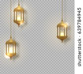 gold vintage luminous lanterns. ... | Shutterstock .eps vector #639784945