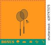 badminton icon flat. simple...