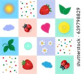 patchwork with sun  strawberry  ... | Shutterstock .eps vector #639798829