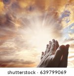 hands together praying in... | Shutterstock . vector #639799069