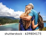 young happy couple hugging and... | Shutterstock . vector #639804175