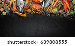 fresh seafood  mussels  prawns  ... | Shutterstock . vector #639808555