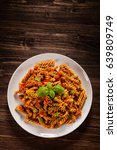 pasta with tomato sauce on... | Shutterstock . vector #639809749
