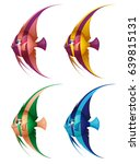 a set of colored cheerful fish... | Shutterstock .eps vector #639815131
