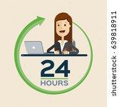 customer service 24 hours.... | Shutterstock .eps vector #639818911