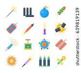 pyrotechnics vector set of... | Shutterstock .eps vector #639819139