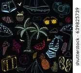 summer beach cute doodle hand... | Shutterstock .eps vector #639825739