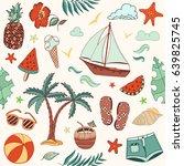 summer beach cute doodle hand... | Shutterstock .eps vector #639825745