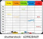 planner template on whiteboard... | Shutterstock .eps vector #639828469
