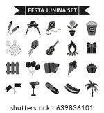 festa junina set icons  black... | Shutterstock .eps vector #639836101