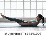 young woman doing yoga pose... | Shutterstock . vector #639841009