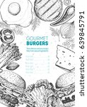 burgers and ingredients for... | Shutterstock .eps vector #639845791
