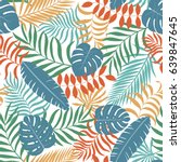 tropical background with palm... | Shutterstock .eps vector #639847645
