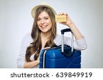 happy woman traveler holding... | Shutterstock . vector #639849919