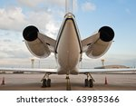 two engine of airplane for business flights - stock photo