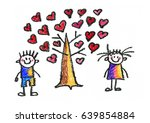 kids drawing love tree with... | Shutterstock . vector #639854884