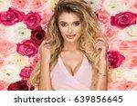 beautiful blonde girl in pink... | Shutterstock . vector #639856645